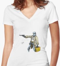 Daddy was a bank robber Women's Fitted V-Neck T-Shirt
