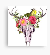 Boho skull with feathers, flowers, bird Canvas Print