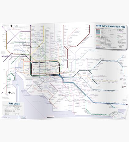 Melbourne train and tram map Poster