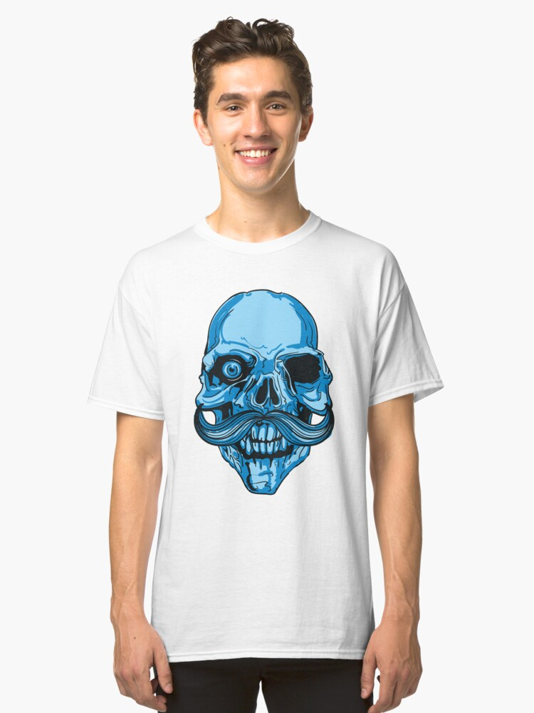 Hipster Skeleton Mustach Classic T-Shirt Front