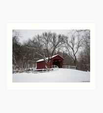 Winter at the Sandy Creek Coverd Bridge Art Print