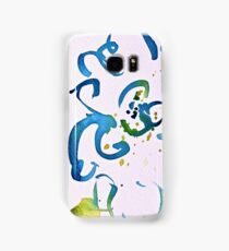 Free Flowing Floral Blue Green Yellow Samsung Galaxy Case/Skin