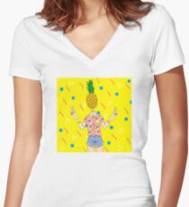 pineapple head Women's Fitted V-Neck T-Shirt
