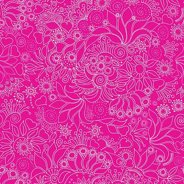 Floral on hot pink by bunyipdesigns