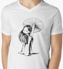 Girl under the mushroom Men's V-Neck T-Shirt