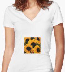Santa Barbara Sunflowers (2006) Women's Fitted V-Neck T-Shirt