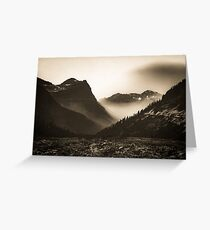 Mountains and Forest - Glacier National Park Vintage Sepia Greeting Card