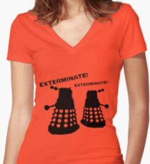 Dalek - Doctor Who - Exterminate! Women's Fitted V-Neck T-Shirt