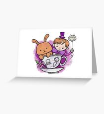 Mad hatter teacup party Greeting Card
