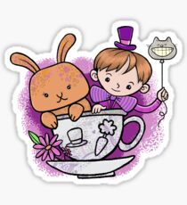 Mad hatter teacup party Sticker
