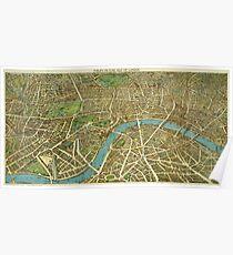 1908 London Vintage Map Poster Poster