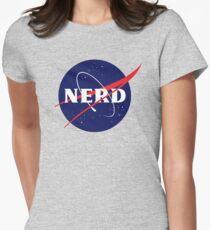 NASA Nerd Logo Parody Women's Fitted T-Shirt