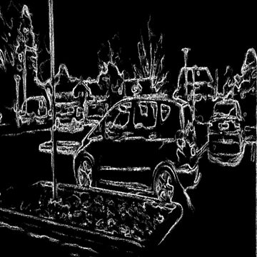 black and white drawing effect car and parking place by ZierNor