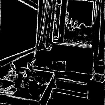 black and white drawing resting room by ZierNor
