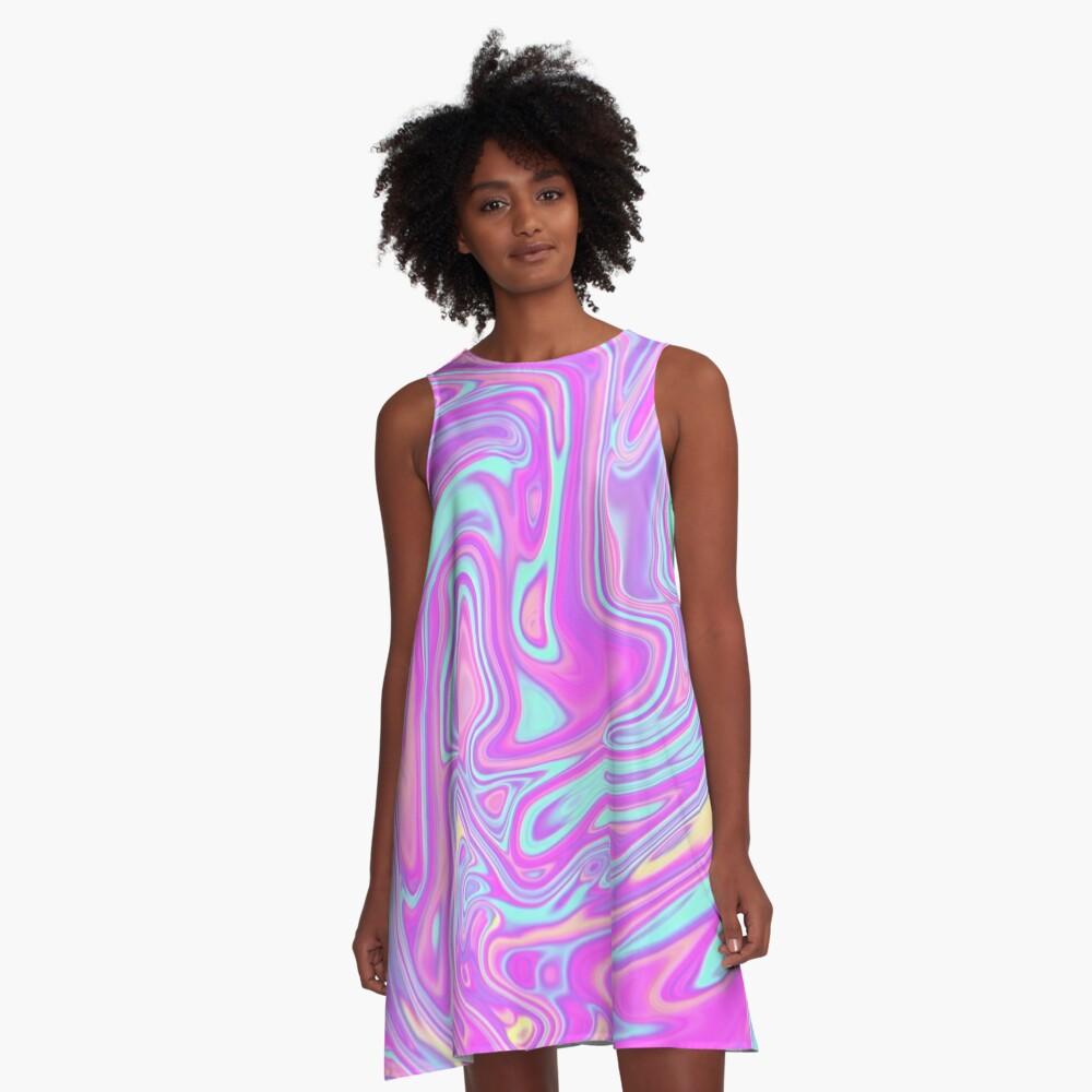 Liquid Rainbow A-Line Dress