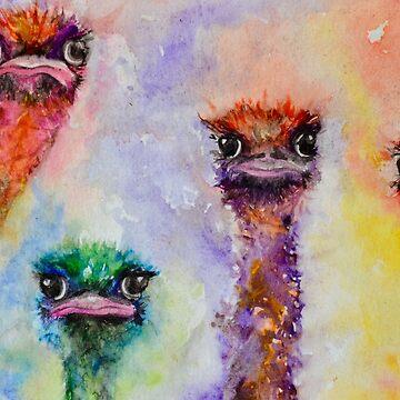 "139. ""Colourful Ostrich Faces"" by M.Viljoen by mviljoenart"