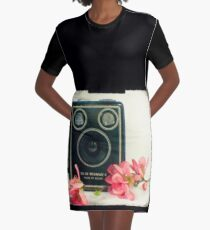 Vintage Kodak Brownie camera with pink apple blossom flowers Graphic T-Shirt Dress