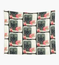 Vintage Kodak Brownie camera with pink apple blossom flowers Wall Tapestry