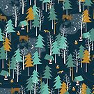 MOONLIGHT, Woodland, Camping, Moose by papercanoe