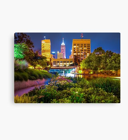 Downtown Indianapolis Skyline at Night Canvas Print
