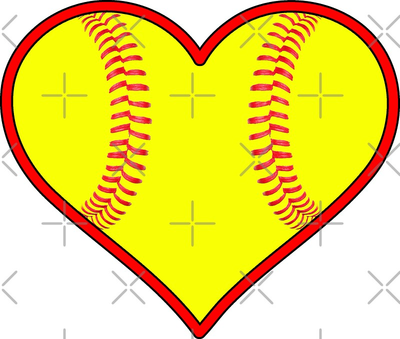 """Yellow Fastpitch Softball Heart"" Stickers By"