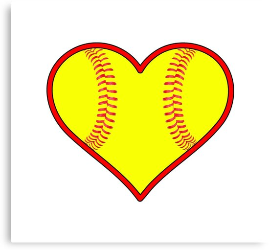 """Yellow Fastpitch Softball Heart"" Canvas Prints By"