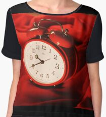 Red Alarm Clock 4 - Warm, Love, Valentine, Charming, White, Time Women's Chiffon Top