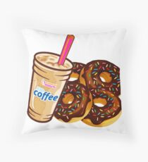 Dunkin' Donuts- Coffee and Donuts Throw Pillow