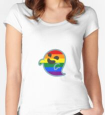 Gay Pride Android Ghost Emoji Fitted Scoop T-Shirt