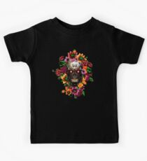 Day of the dead sugar steel Chrome skull with flower Kids Clothes
