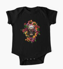 Day of the dead sugar steel Chrome skull with flower One Piece - Short Sleeve