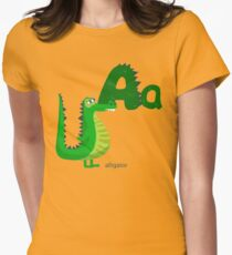 Letter A with Cute Alligator for Children Books Womens Fitted T-Shirt