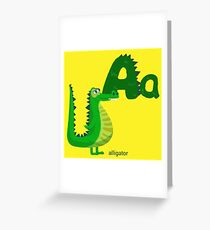 Letter A with Cute Alligator for Children Books Greeting Card
