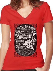 Our Native Bees Women's Fitted V-Neck T-Shirt