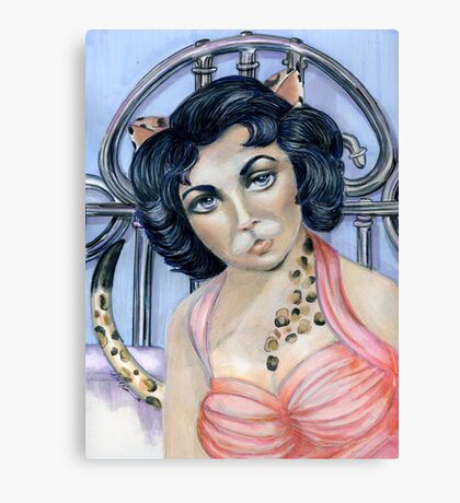 Cat on a Hot Tin Roof, Pop Surrealism by Alma Lee Canvas Print
