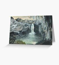Waterfall, Watercolor  Greeting Card