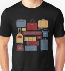 Baggage Set for Travel Time. Different Bags and Suitcases T-Shirt