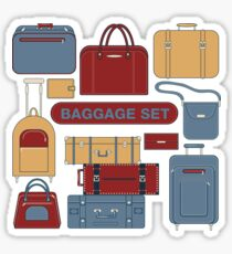 Baggage Set for Travel Time. Different Bags and Suitcases Sticker