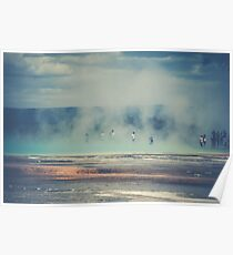 Water Clouds - People in Hot Springs at Yellowstone National Park Poster