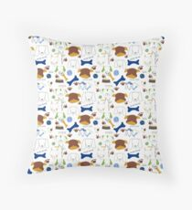 Good Doggie Hand-Drawn Cartoon Dog Print Throw Pillow
