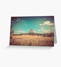 Vintage Landscape - Devil's Tower National Monument Wyoming Greeting Card
