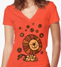Cute Cartoon Lion Dream by Cheerful Madness!! Women's Fitted V-Neck T-Shirt