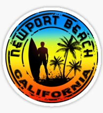 Surfer NEWPORT BEACH California Surfing Surfboard Ocean Beach Vacation Sticker