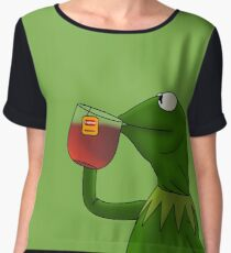 Kermit sipping tea (Redesign) Women's Chiffon Top