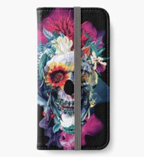 Floral Skull Blue iPhone Wallet/Case/Skin