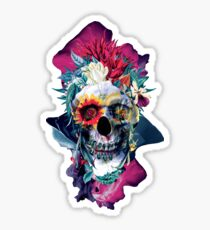 Floral Skull Blue Sticker