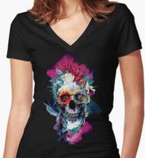 Floral Skull Blue Women's Fitted V-Neck T-Shirt