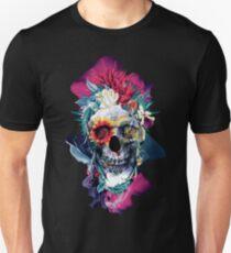 Floral Skull Blue Unisex T-Shirt