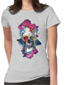 Floral Skull Blue Womens Fitted T-Shirt