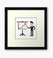 Businessman Behind Stand with Chart Framed Print